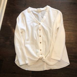 Wishlist white waffle tie front top